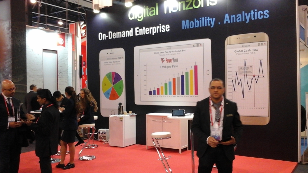 Digital Horizons Employees Ajay Soni, Girish BS, Sushant Tiwari at Mobile World Congress 2016
